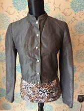 KAREN MILLEN Military Style Metallic Sheen Grey Jacket - Size 8
