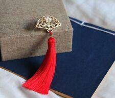 Women Brooch Scarf Pin Japan folding fan Red Long tassels fashion jewelry GIFT