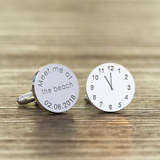Personalised Silver Plated Meet Me at the Beach Wedding Time & Date Cufflink