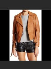 NWOT Muubaa Manning Cognac Brown Tan Leather Biker Jacket