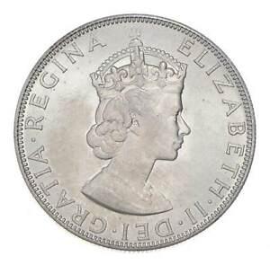 Choice BU Unc 1964 Bermuda 1 Crown Silver Coin - Mint State *796