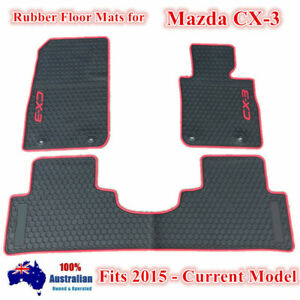 Waterproof Rubber Floor Mats Tailor Made For Mazda CX-3 2015 - 2021 Red Black