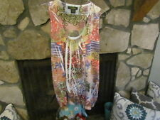 Women's Blouse Size XL Pink Green White Sleeveless Pretty Print & Colors Cute