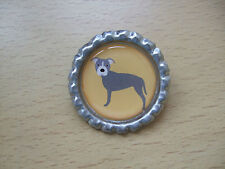 Handmade Staffy Brooch Bottle Cap Badge Dog Cartoon Staffordshire Bull Terrier