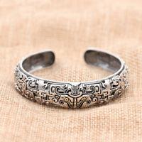 Men's 925 Sterling Silver Cuff Bracelet  Mythical Animal Gluttony Jewelry