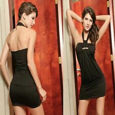 Sexy Black Halter Formal Casual Cocktail Party Prom Chic Dress Ladies Sz S 8 10