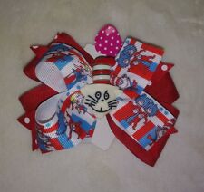 Dr Seuss Thing 1 Thing 2 Hair Bow Handmade Boutique Red Blue Cat-in-the-Hat