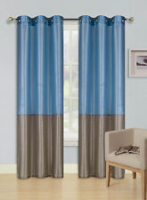 1 SET 2 TONE SILKY GROMMET WINDOW CURTAIN LINED BLACKOUT PANEL DRAPE NEW (EID)