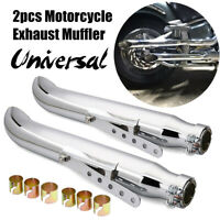 2x 20'' Motorcycle Exhaust Muffler Pipe Turnout Bracket For Harley Cafe Racer
