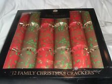"""Tom Smith 12"""" Family Christmas Crackers Red & Gold Set of 12 NEW Festive"""