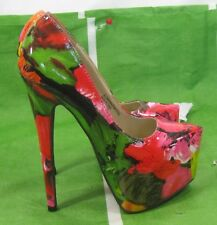 """RED Multi 6.5""""Stiletto High Heel 2.5""""Platform Pointy Toe Sexy Shoes Size 5.5"""