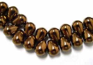50  Exquisite Bronze Czech Glass Tear Drop Teardrop Beads 8MM Limited