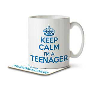 Keep Calm I'm a Teenager (Blue) - Mug and Coaster by Inky Penguin