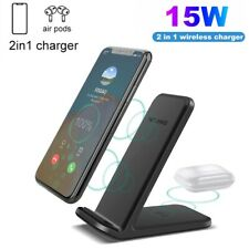 2 In 1 15W Qi Fast Wireless Charger Charging Dock Stand For iPhone 12 Pro Max XS