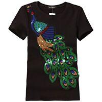 Women Noble Elegant T-Shirts Peacock Sequins New Top Tees Shirts Femmer Clothes