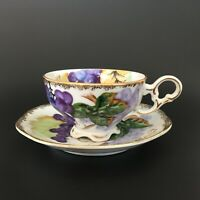 Norcrest Hand Painted Grape Bunch Vine NW-C5A Footed Tea Cup & Saucer Set