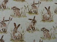 Hares Rabbits Natural Linen Look Panama Fabric Curtains Upholstery