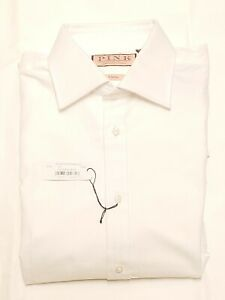 Thomas Pink Solid White Cotton French Cuff Dress Shirt Classic Fit Size 16/36.5