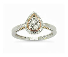 10K White Gold Pear Cluster Diamond Ring Rose gold Accents .12ct Micro-Pave