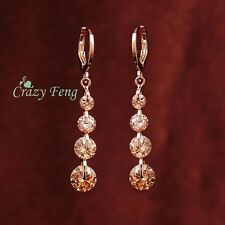 Elegant 18K Gold Plated CHAMPAGNE CZ Crystal Long Drop Tassel Earrings Jewelry