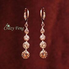 Elegant 18K Gold Plated CHAMPAGNE CZ Crystal Long Drop Tassel Earrings Jewelry