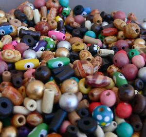Assorted Wood Beads 50 Pcs Round Tube Rondelle Oval Pink Yellow Blue Green ++