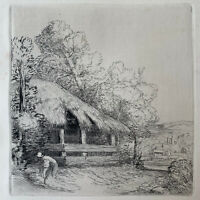 Alphonse Legros gravure Gravure Eau Forte Etching Paysage Ferme Le Petit Hangar