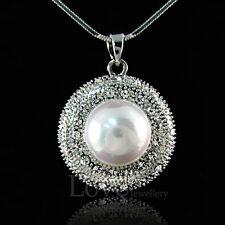 18K WGP Nice White Pearl Necklace Made with Swarovski Crystal NP1324