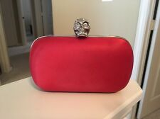 Alexander McQueen Red Satin Silver Tone Rhinestone Embellished Skull Clutch