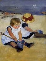 Oil painting Mary Stevenson Cassatt - children on the shore landscape on canvas