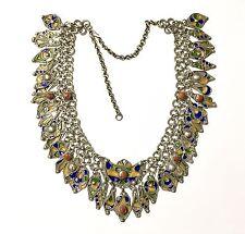 Vintage Berber Silver, Enamel, & Coral Charm Bib Necklace, 1950s Algeria Kabyle