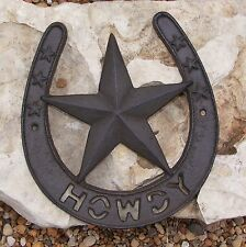 Horseshoe Howdy Cast Iron Star Wall  Plaque Western Rustic Horse Home Decor #401