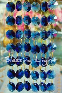 Blue - Lead Glass Crystal - Octagon Chandelier - Prisms Chains