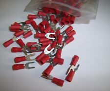 (25) Wire Spade Fork Connector Red Vinyl Terminal #8 Car Audio Speaker Amp New
