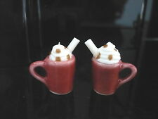 2 Red Cups of Cappuccino Dollhouse Miniatures Food Supply Deco