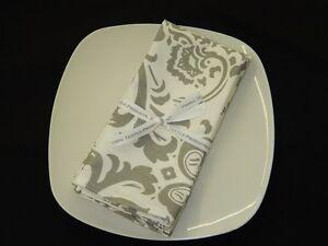 "New! Set of 4 Storm Gray Traditional Damask Napkins 18"" x 18"" 100% Cotton"