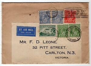 Australia 1930 Brisbane QLD - George V Head Issue - Airmail Rate Cover to VIC -