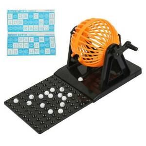 FAMILY BINGO AND LOTTO LOTTERY NUMBERS MACHINE GAME 1-90 NUMBERED BALL+ 48 CARDS