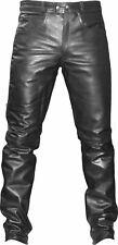 NEW MEN MOTORCYCLE BIKER LEATHER JEAN PANTS TROUSER WAIST 34
