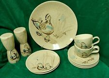 RED WING POTTERY Quail BOB WHITE Lg. Salt & Pepper, 2 Cups, 4 Saucers, 3 Plates