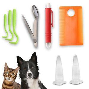 Pet Dog Cat Tick Remover Kit Set Tick Hook Tick Tweezer With Magnifier Flea Comb