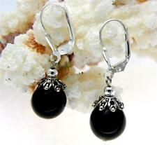 GENUINE NATURAL BLACK CORAL 10MM BALL LEVERBACK EARRINGS 925 STERLING SILVER