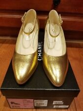 16A $825 AUTH NIB Chanel Metallic Gold Mid Heel Mary Jane Ankle Strap Pumps 37