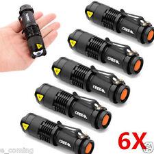 6pc Mini CREE Q5 LED Flashlight Torch 7W 1200LM Adjustable Focus Zoom Light Lamp