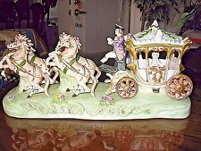 Vintage Capodimonte Cinderella Horse-Drawn Carriage Coach Gloss Porcelain Figure