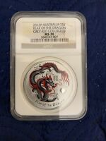 2012 Australia S$1 Year of the Dragon Colorized Grey-Red 1oz Silver NGC MS70