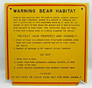 "Vintage Original Warning Bear Habitat Sign on Fiberboard 12""x12"" DAMAGED CORNERS"
