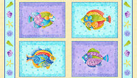 "Fabric Beach Seaside Tropical Beach Fish Squares on Aqua Cotton Panel 24""X44"""