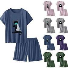 Womens Short Sleeve Pajamas Set Nightwear Summer Sleepwear Launge Wear Pjs Size