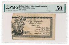 ITALIAN STATES (KINGDOM OF SARDINIA) banknote 50 LIRE 1796 PMG AU 50 aUNC